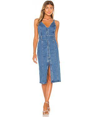 Текстильное синее платье миди с поясом Finders Keepers