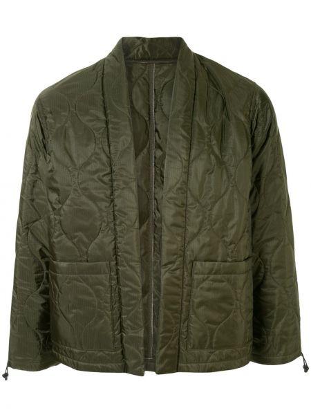 Зеленая прямая нейлоновая стеганая куртка с карманами Sophnet.