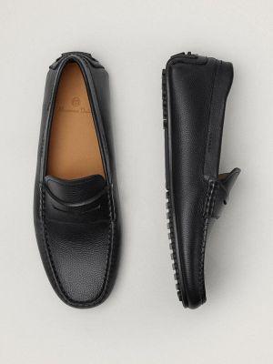 Кожаные черные мокасины Massimo Dutti