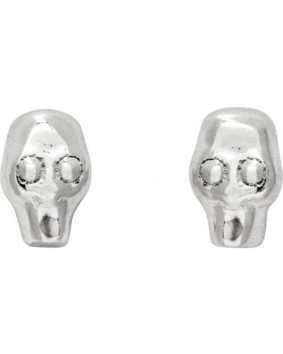 Клубные серебряные серьги-гвоздики с черепами Stolen Girlfriends Club