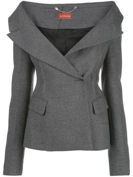 Серый шерстяной пиджак с открытыми плечами с V-образным вырезом Altuzarra