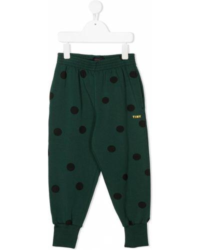 Хлопковые зеленые брюки с манжетами с вышивкой Tiny Cottons