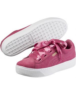 Замшевые розовые кроссовки на платформе для сна на шнурках Puma