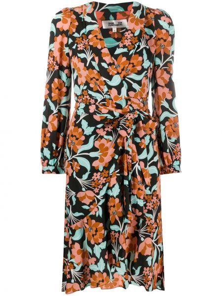 С рукавами черное платье миди с запахом с V-образным вырезом Dvf Diane Von Furstenberg