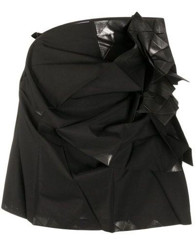 Czarna spódnica mini z falbanami asymetryczna Issey Miyake