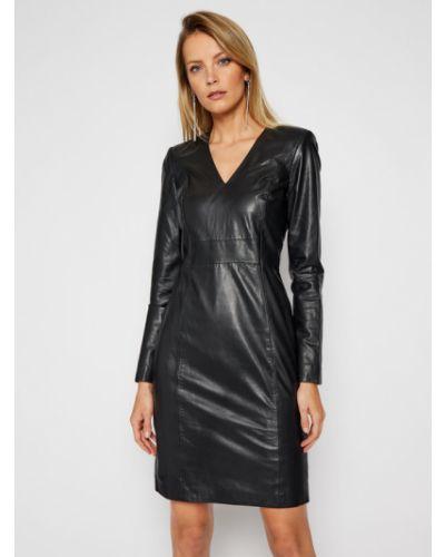 Czarna sukienka skórzana Lamarque