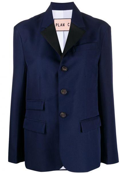 Синий пиджак с карманами на пуговицах Plan C