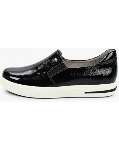 Лаковые черные кожаные слипоны Caprice