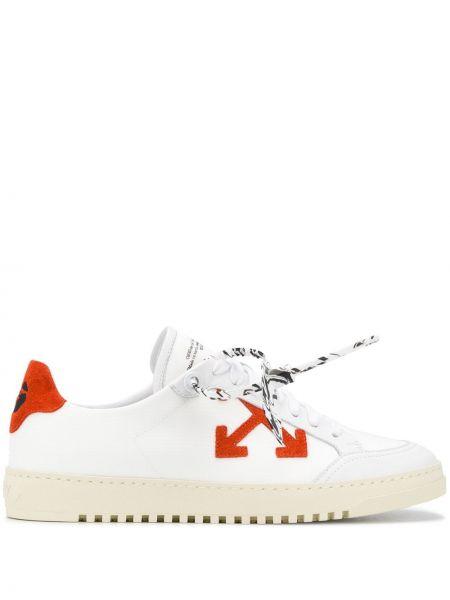 Кожаные белые кеды на шнуровке Off-white