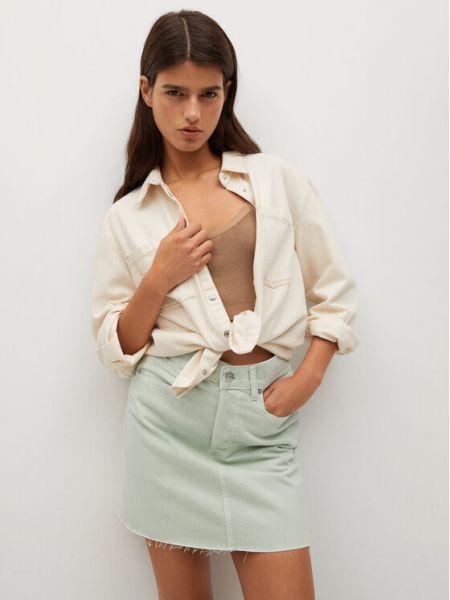Spódnica jeansowa - zielona Mango