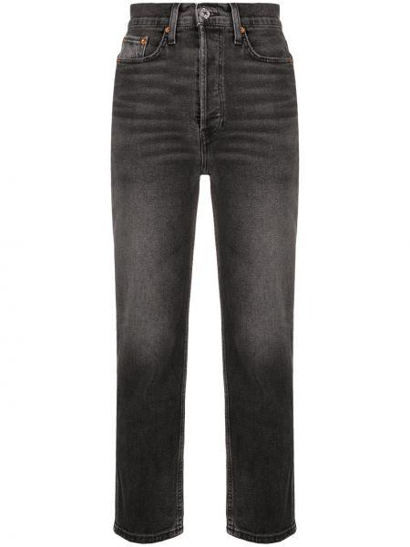 Z wysokim stanem bawełna czarny jeansy na wysokości z kieszeniami Re/done