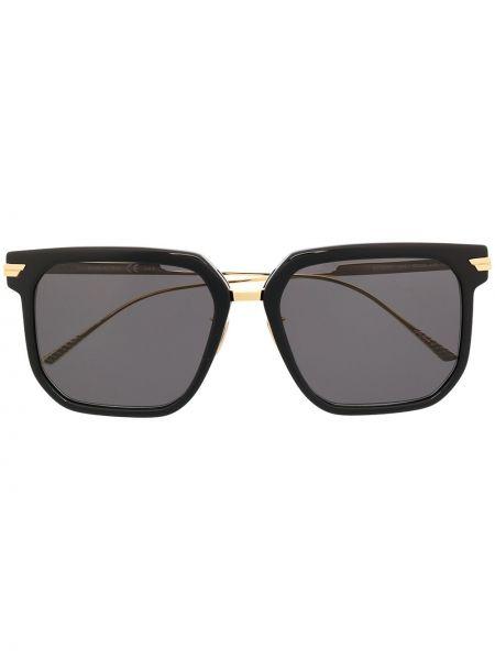 Прямые черные солнцезащитные очки квадратные металлические Bottega Veneta Eyewear