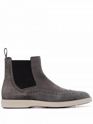 Кожаные ботинки челси - серые Santoni