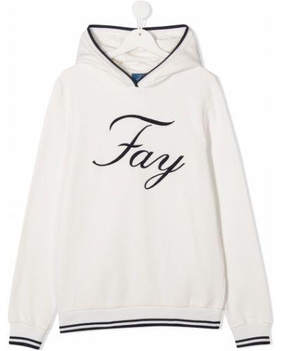 Хлопковая с рукавами белая толстовка с капюшоном Fay Kids