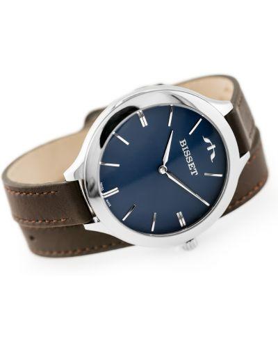 Brązowy klasyczny zegarek srebrny Bisset