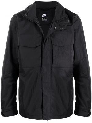 Черная длинная куртка с капюшоном с вышивкой Nike