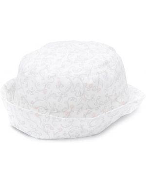 Biały kapelusz bawełniany w kwiaty Baby Dior