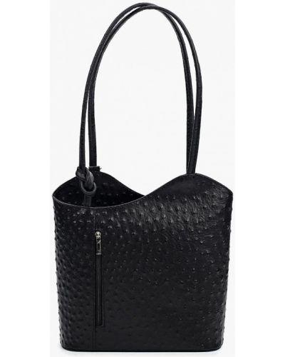 Черная сумка с ручками из натуральной кожи Roberta Rossi