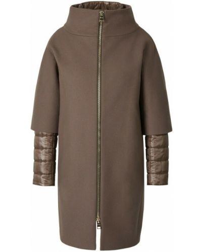 Brązowy płaszcz wełniany Herno