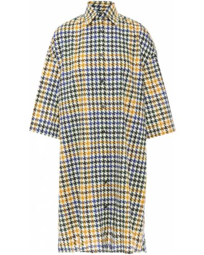 Синее платье-рубашка твидовое с карманами Mcq Alexander Mcqueen