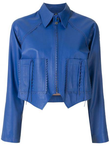 Синяя кожаная короткая куртка на молнии Nk