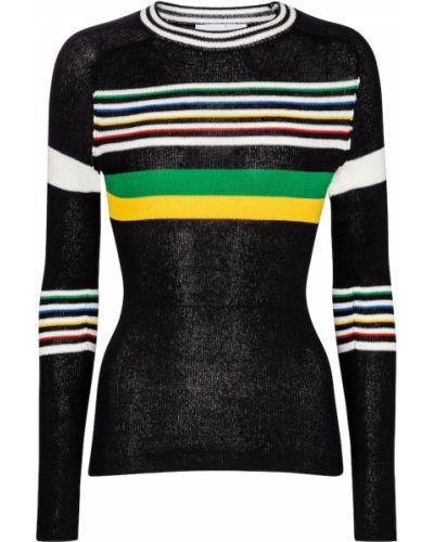 Хлопковый черный свитер в полоску Victoria Beckham