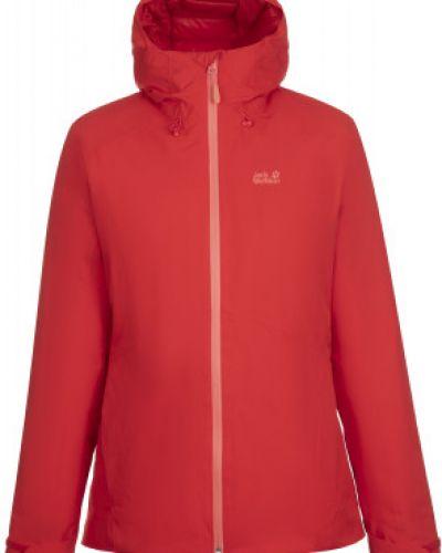 Приталенная теплая красная зимняя куртка на молнии Jack Wolfskin
