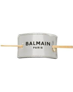 Кожаная серебряная заколка Balmain
