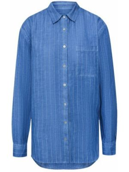 Льняная синяя рубашка 120% Lino