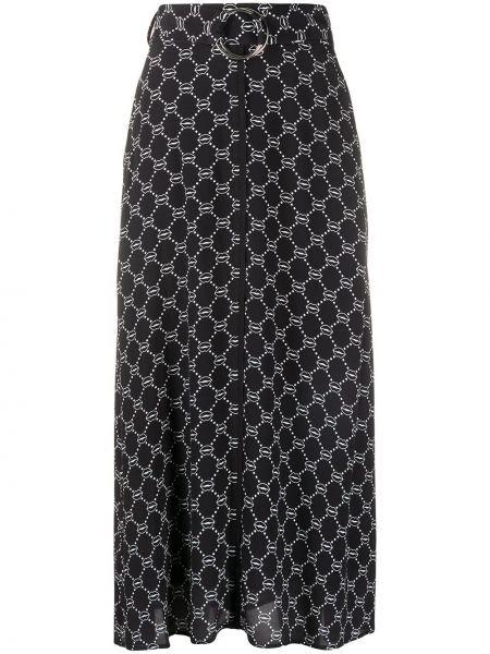 Черная юбка макси с поясом из вискозы Markus Lupfer