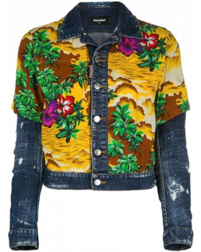 Джинсовая куртка длинная укороченная Dsquared2