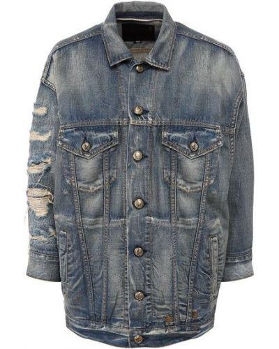 С рукавами хлопковая синяя джинсовая куртка R13