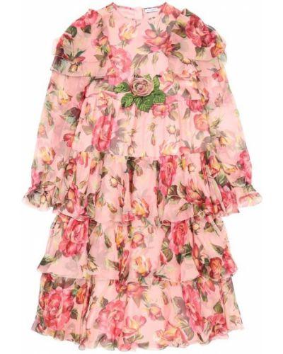 Платье с цветочным принтом с оборками с розами Dolce & Gabbana