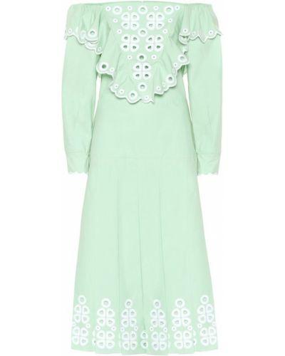 Платье миди с вышивкой из поплина Fendi