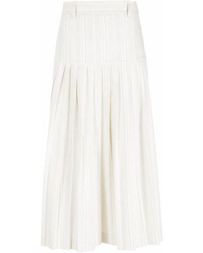 Хлопковая белая плиссированная юбка миди НК