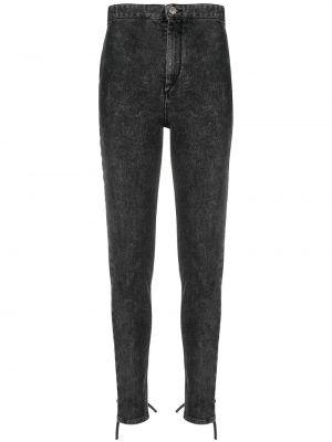 Czarne jeansy z wysokim stanem bawełniane Isabel Marant