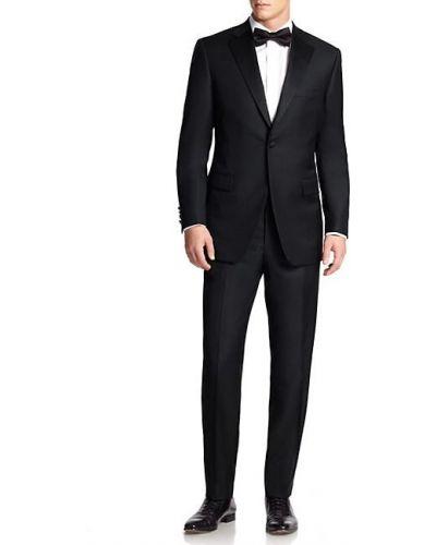 Czarny smoking z długimi rękawami wełniany Saks Fifth Avenue