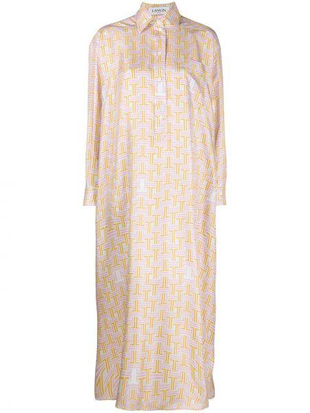 Sukienka z kołnierzem z długim rękawem Lanvin