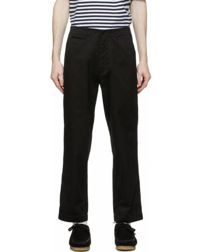 Czarne spodnie z paskiem bawełniane Nanamica