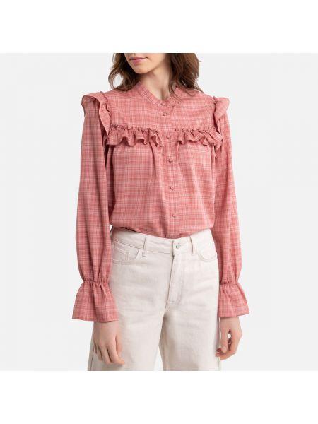Прямая розовая блузка с длинным рукавом с оборками на резинке La Redoute