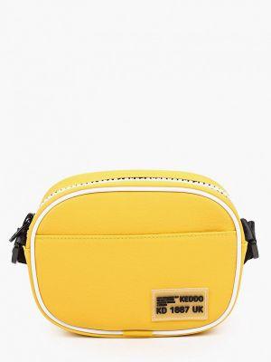 Желтая кожаная сумка через плечо Keddo