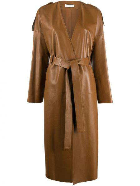 Коричневое пальто с запахом с воротником с карманами Inès & Maréchal