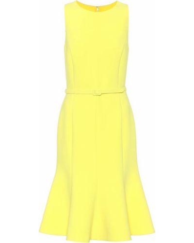Платье с поясом в рубчик кожаное Oscar De La Renta