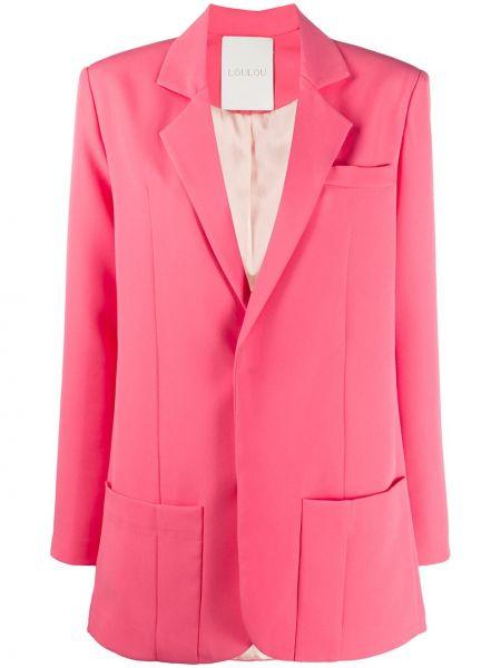 Розовый удлиненный пиджак с карманами на пуговицах Loulou