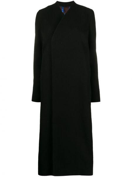 Черное длинное пальто из альпаки с капюшоном Rick Owens