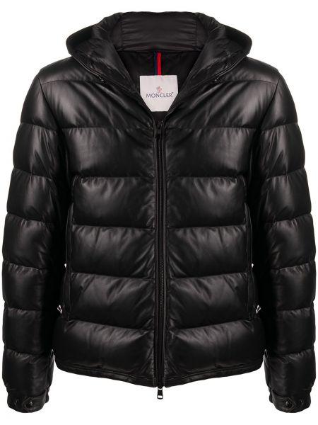 Puchaty klasyczny czarny kurtka z kapturem z kieszeniami Moncler