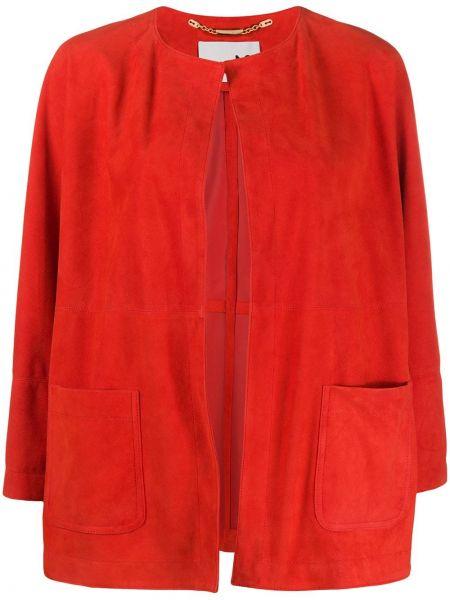 Красная кожаная куртка с накладными карманами Manzoni 24