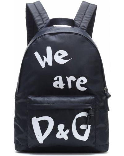 Niebieski skórzany plecak Dolce & Gabbana Kids