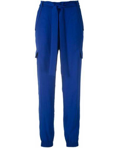Синие брюки карго эластичные из вискозы Reinaldo Lourenço