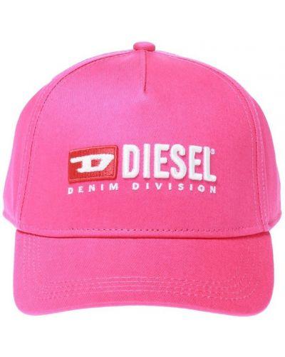 Różowa czapka bawełniana Diesel
